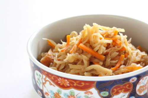 106162893 - japanese food, simmered dried radish and carrot with mushroom