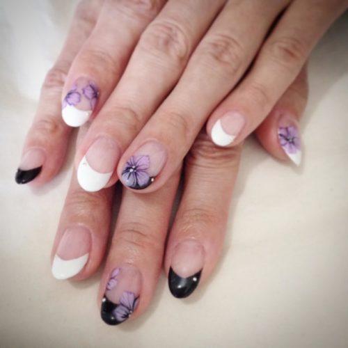 【ジェルネイル】夏の浴衣に似合う手描きアート「和風お花」の書き方