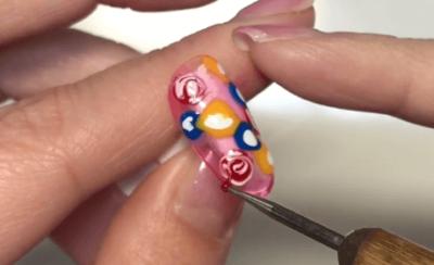 ジェルネイルの薔薇デザイン|手書きの薔薇の書き方とマーブル薔薇のやり方