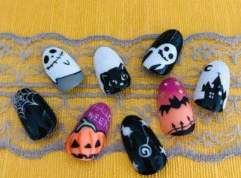 【ハロウィンネイル】簡単で可愛い「かぼちゃ・コウモリ」の書き方