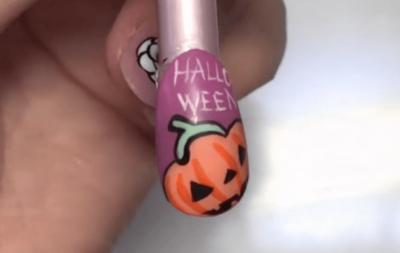 ハロウィンネイルのかぼちゃの書き方